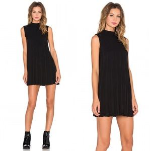 UNIF Black Sadi Mock Neck Ribbed Tent Mini Dress